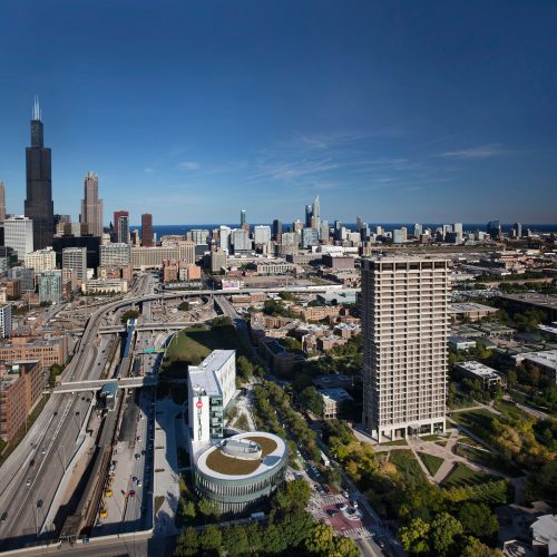 aerial shot of UIC and Chicago area