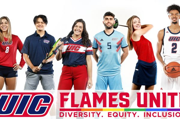 Athletes of various ethnicities pose with equipment